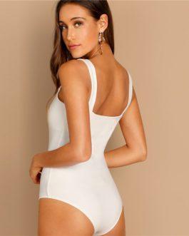 Straps Skinny Plain Casual Women Streetwear Spring Bodysuit