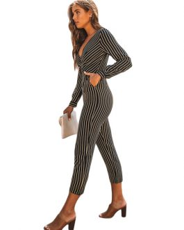 Stripe Long Sleeve V Neck Cropped Jumpsuit With Pockets