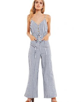 Striped Sleevless Buttons Wide Leg Jumpsuit
