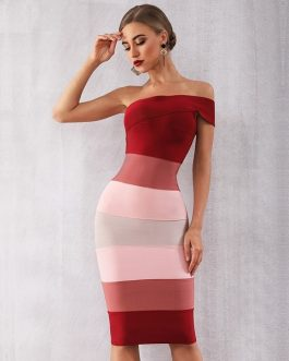 Summer Women Sexy One Shoulder Midi Celebrity Evening Party Dresses