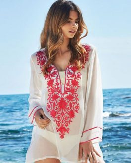 Swimsuit Cover Ups Long Sleeve Sheer Printed Women Beach Bathing Suit