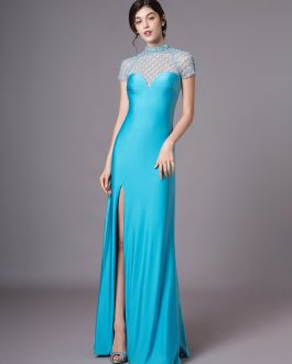 Teal Evening Illusion Prom Floor Length Sheath Dress