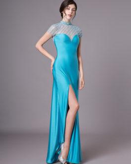Teal Evening Illusion Prom Floor Length Sheath Dress