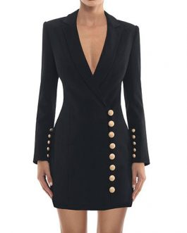 Turndown Collar Plunging Buttons Bodycon Dress