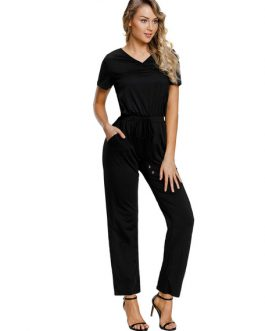 V Neck Short Sleeve Straight Leg Jumpsuit