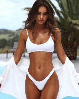 White Bikini Swimsuit U Neck Adjustable Straps High Leg Bikini
