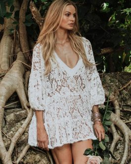White Cover Up Dress Lace Sheer Oversized Beach Dress For Women