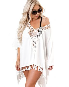 White Cover Up Dress Plunging Lace Tassels Oversized Beach Dress