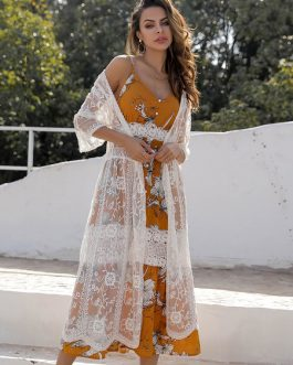White Cover Up Women Lace Sheer Open Front Beach Dress