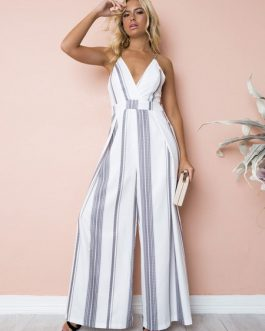 Wide Leg Jumpsuit Striped Straps Low Back Summer Jumpsuit For Women