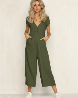 Wide Leg Jumpsuit V Neck Short Sleeve Buttons Women Jumpsuit
