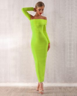 Women Bandage Off Shoulder Evening Party Maxi Dress