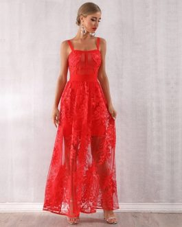 Women Bandage Red Lace Maxi Celebrity Party Dress