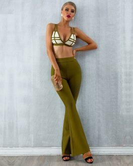 Women Bandage Vestido Tops&Pant Two Pieces Set
