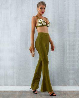 Women Bandage Vestido Tops&Pant Two Pieces Set