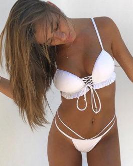 Women Bikini Swimsuit White Ruffles Strappy Lace Up Two Piece Swimwear