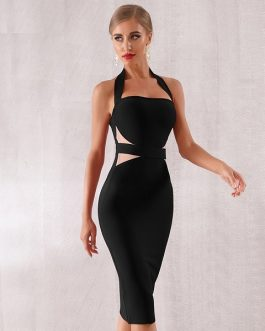 Women Bodycon Sexy Halter Lace Club Evening Party Dress