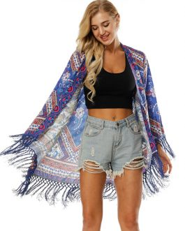 Women Boho Kimono Long Sleeve Fringe Printed Open Front Blue Cover Up