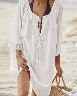 Women Casual Cover Up Lace Scoop Neck Cotton Beachwear