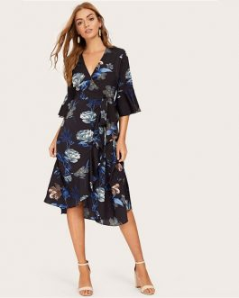 Women Casual Floral Boho A Line Beach Dress