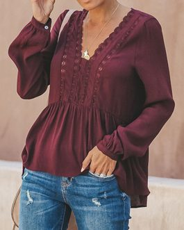 Women Casual Loose Pure Color V-Neck Lace Chiffon Blouse – Red 6