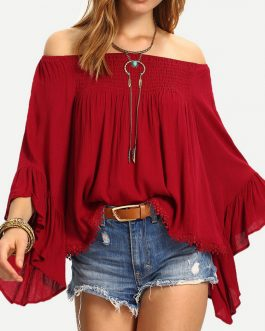 Women Casual Solid Color Off Shoulder Long Sleeve Blouse – Red 6
