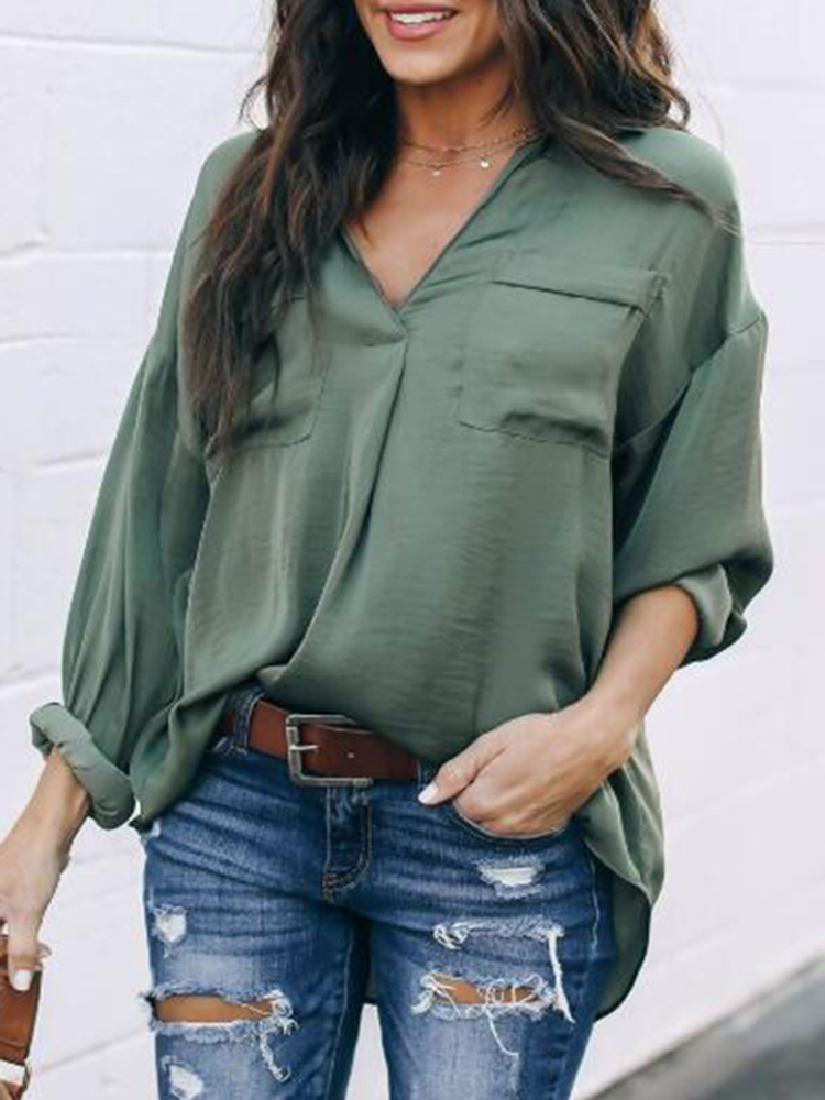 c0cd50b8392 Women Casual Solid Color V-Neck Long Sleeve Blouse - Power Day Sale