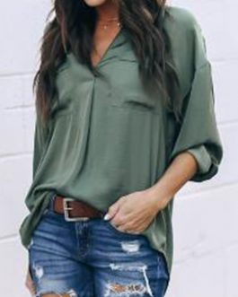 Women Casual Solid Color V-Neck Long Sleeve Blouse