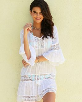 Women Cover Up Lace Tssels Knotted Semi Sheer Oversized Beach Dress
