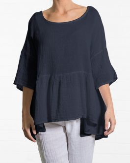 Women Crew Neck 3/4 Sleeve Loose Cotton Blouse – Navy 6