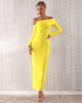 Women Draped Off Shoulder Long Maxi Evening Party Dresses