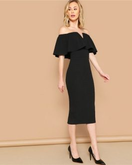 Women Elegant Bodycon Glamorous Midi Party Dress