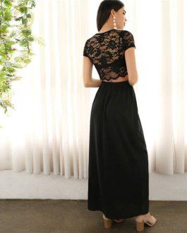 Women Glamorous Lace Crop Blouse Maxi Skirt Twopiece
