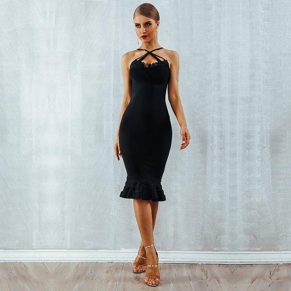 d14a634820b Women Lace Bandage Spaghetti Strap Evening Party Dresses - Power Day ...