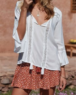 Women Lace Patchwork Solid Color Horn Cuff 3/4 Sleeve Blouse
