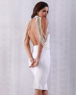 Women Luxury Pearls Chain Beads Midi Club Evening Party Dress