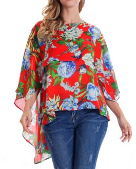 Women O-neck Floral Print Batting Sleeve Irregular Blouse – Yellow 8