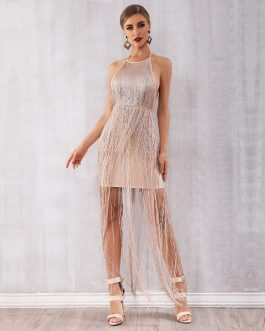 Women Sexy Evening Party Maxi Tassels Fringe Club Dress