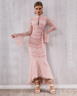 Women Sexy Lace Long Sleeve Maxi Club Party Dress