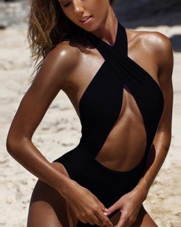 Women Sexy Swimsuit Halter Backless Cut Out One Piece Bathing Suits