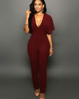Women Sexy V Neck Butterfly Sleeve Tapered Fit Casual Jumpsuit