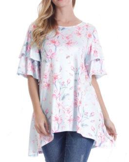 Women Short Sleeve Round Neck Floral Print Irregular T-shirts – Light Blue 4