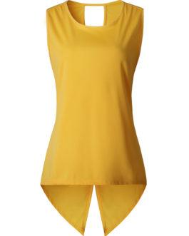 Women Solid Color Back Cross Irregular Hem Sleeveless Blouse