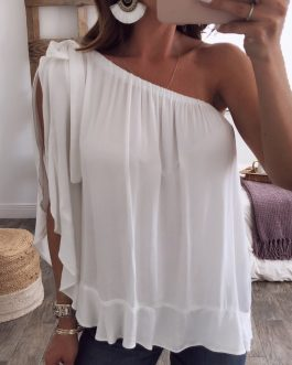 Women Solid Color Off Shoulder Chiffon Blouse