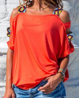 Women Solid Color Off Shoulder Short Sleeve Blouse
