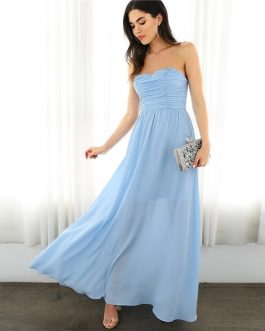 Women Strapless Tube Solid Glamorous Elegant Sexy Dresses