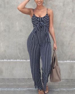 Women Striped Jumpsuit Cut Out Deep Blue Straight Leg Jumpsuit