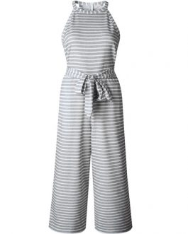 Women Striped Jumpsuit Sleeveless Straight Leg Jumpsuit