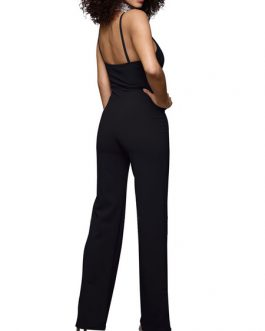 Women Summer Jumpsuit Straps Long Straight Leg Casual Jumpsuit