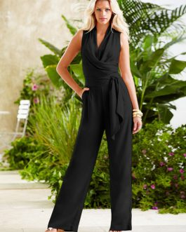 Women V Neck Sleeveless Knotted Jumpsuit